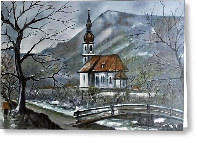 German Church At Ramsau  Greeting Card