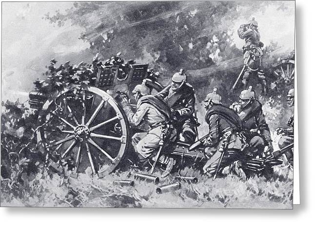 German Field Guns In Action During Greeting Card