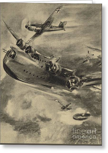 German Fighter Shooting Down A Short Sunderland Flying Boat, World War II  Greeting Card