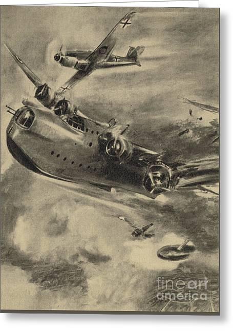 German Fighter Shooting Down A Short Sunderland Flying Boat, World War II  Greeting Card