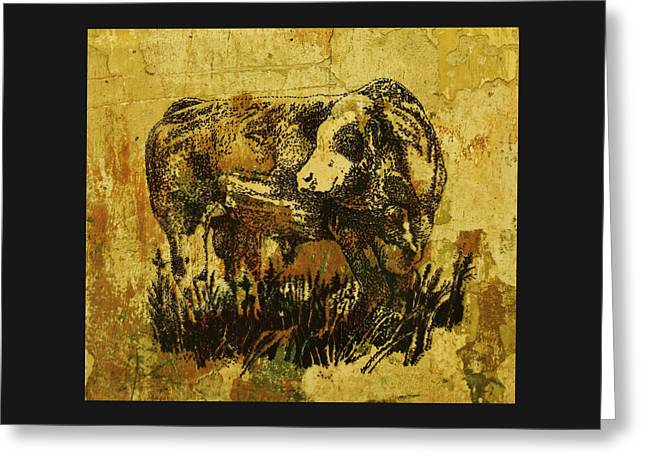 Greeting Card featuring the drawing German Fleckvieh Bull 21 by Larry Campbell