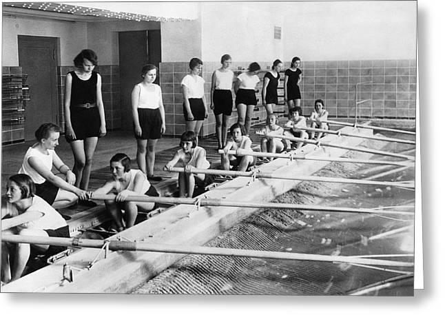 German Girls Learn Rowing Greeting Card by Underwood Archives