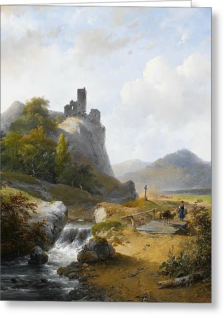 German Landscape With Ruin Greeting Card