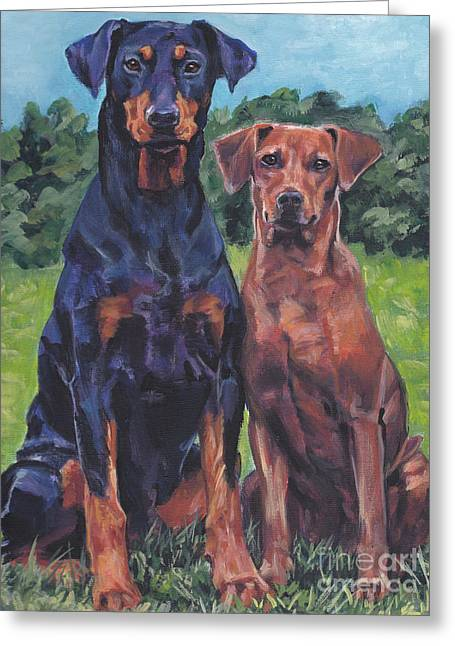 Greeting Card featuring the painting German Pinschers by Lee Ann Shepard