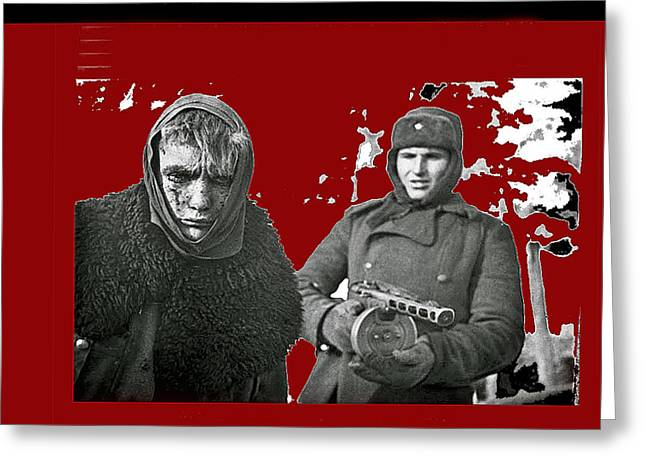 German Pow Soviet Soldier With Ppsh-41 Stalingrad 1943 Greeting Card by David Lee Guss