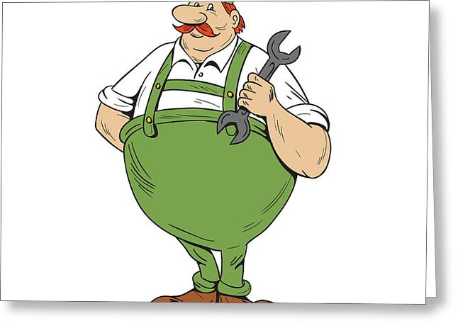 German Repairman Spanner Standing Cartoon Greeting Card