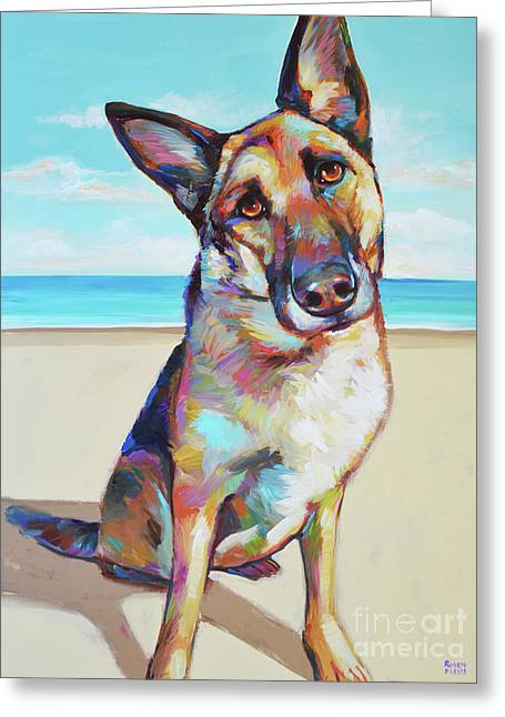 German Shepard On The Beach Greeting Card