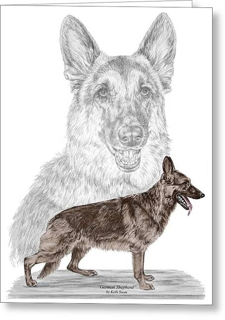 Kelly Greeting Cards - German Shepherd Art Print - color tinted Greeting Card by Kelli Swan