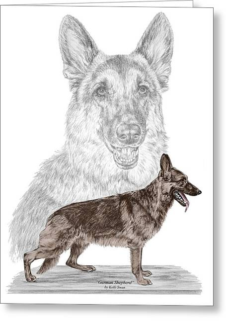 German Shepherd Art Print - Color Tinted Greeting Card by Kelli Swan