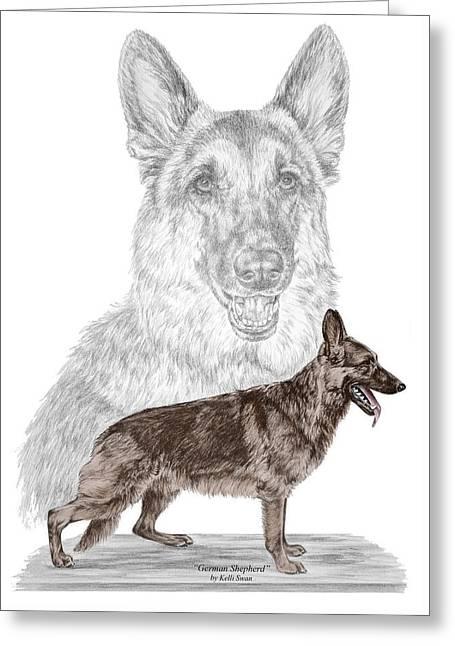 German Shepherd Art Print - Color Tinted Greeting Card by Kelli Swan