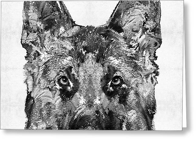 German Shepherd Black And White By Sharon Cummings Greeting Card