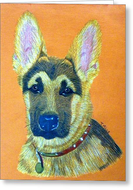 Greeting Card featuring the drawing German Shepherd Dog by Terri Mills