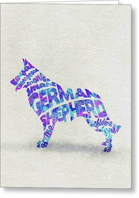 Greeting Card featuring the painting German Shepherd Dog Watercolor Painting / Typographic Art by Ayse and Deniz