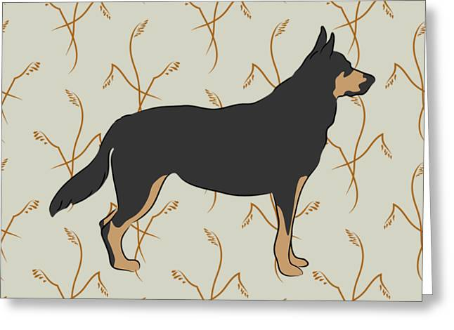 Greeting Card featuring the digital art German Shepherd Dog With Field Grasses by MM Anderson