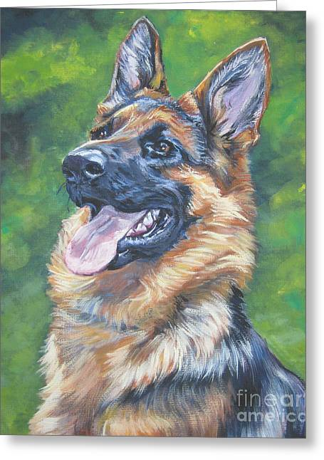 German Shepard Dogs Greeting Cards - German Shepherd Head Study Greeting Card by Lee Ann Shepard