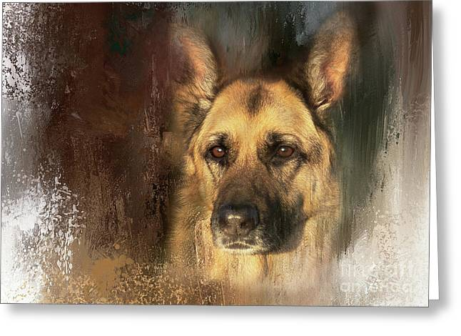 German Shepherd Portrait Color Greeting Card by Eleanor Abramson