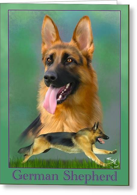 German Shepherd With Name Logo Greeting Card by Becky Herrera