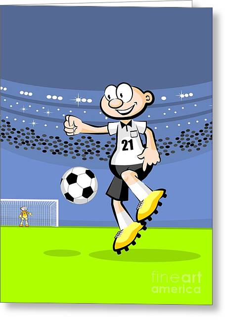 German Soccer Player Dominates The Ball In The Middle Of The Field Greeting Card