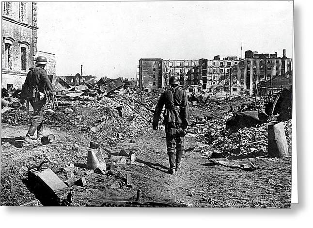 German Soldiers  In  Ruins  Battle Of Stalingrad Number  9a 1942 Greeting Card by David Lee Guss