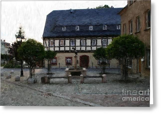 German Town Square Greeting Card