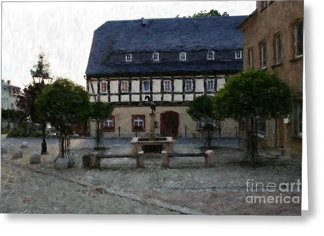 German Town Square Greeting Card
