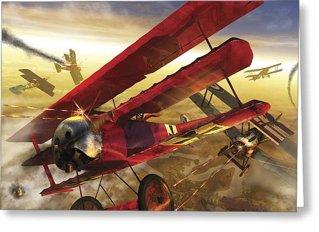German Triple Wing Bi-plane The Red Greeting Card by Kurt Miller