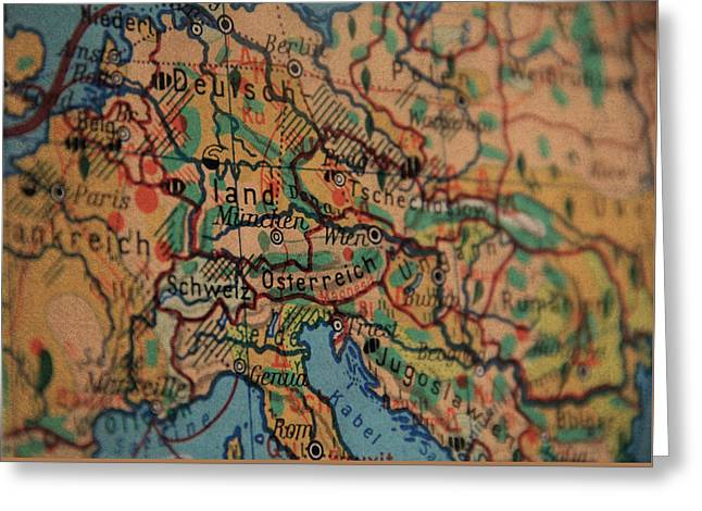 German Vintage Map Of Central Europe From Old Globe Greeting Card