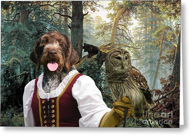 German Wirehaired Pointer Art Canvas Print - Lady Owl And Little Bears Greeting Card