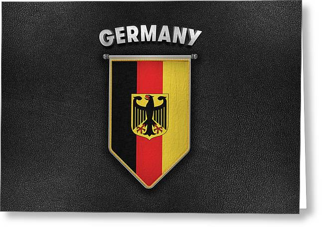 Germany Pennant With Leather Style Background Greeting Card by Carsten Reisinger