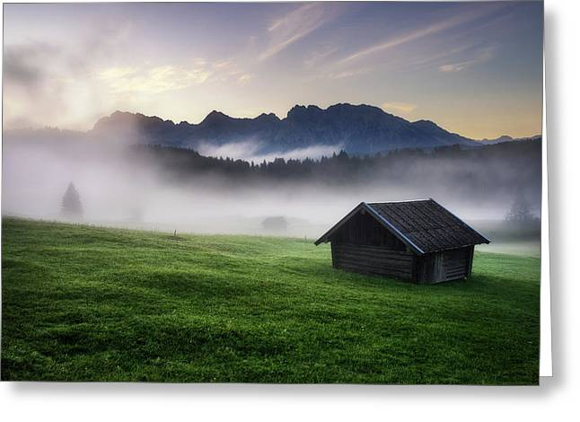 Geroldsee Forest With Beautiful Foggy Sunrise Over Mountain Peaks, Bavarian Alps, Bavaria, Germany. Greeting Card