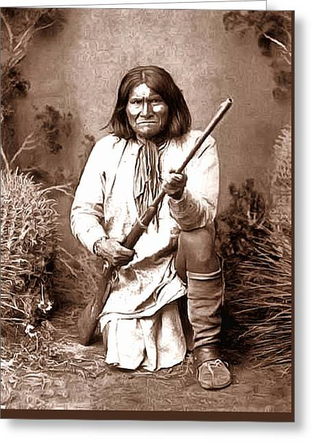 Geronimo Digital Painting Greeting Card by Unknown
