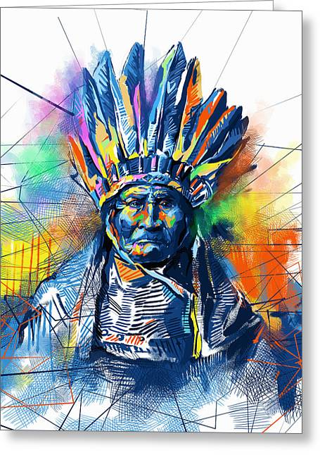 Geronimo Watercolor Portrait Greeting Card