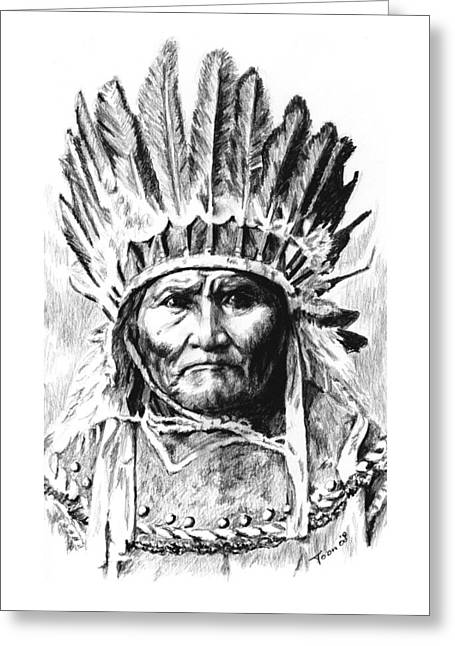 Geronimo With Feathers Greeting Card