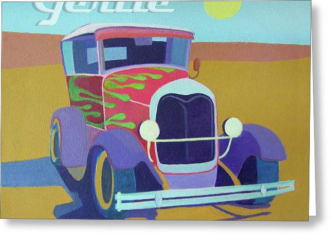 Runabout Greeting Cards - Gertie Model T Greeting Card by Evie Cook