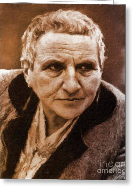 Gertrude Stein, Literary Legend By Mary Bassett Greeting Card by Mary Bassett