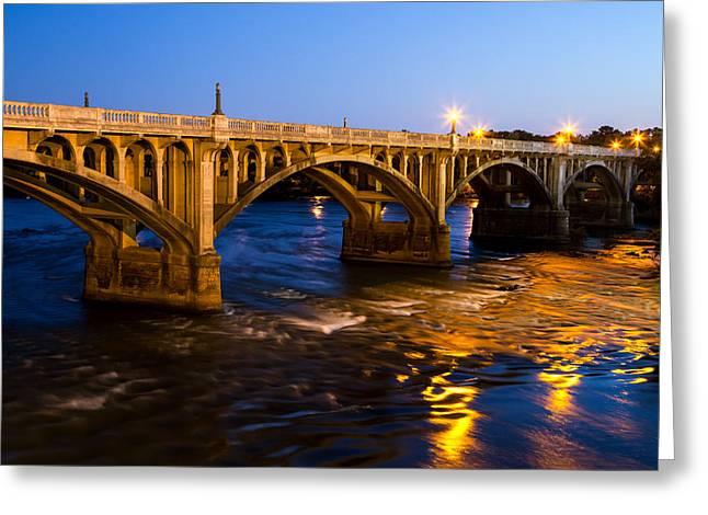 Gervais Street Bridge At Twilight Greeting Card