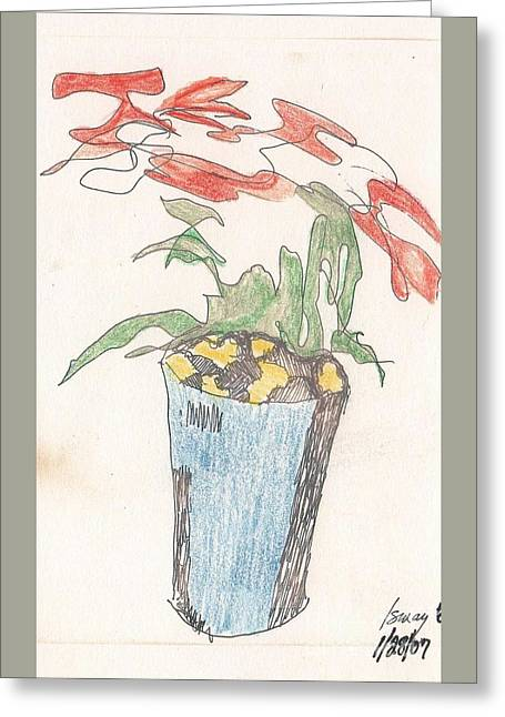 Greeting Card featuring the drawing Gesture Drawing Of Poinsettia by Rod Ismay