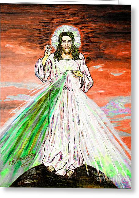 Greeting Card featuring the painting Gesu' by Loredana Messina