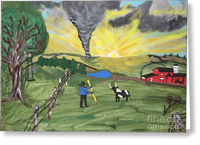 Greeting Card featuring the painting Get In The Barn by Jeffrey Koss