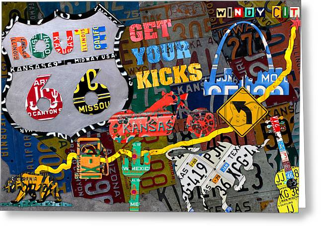 Get Your Kicks On Route 66 Icons Along The Highway Recycled Vintage License Plate Art Greeting Card by Design Turnpike