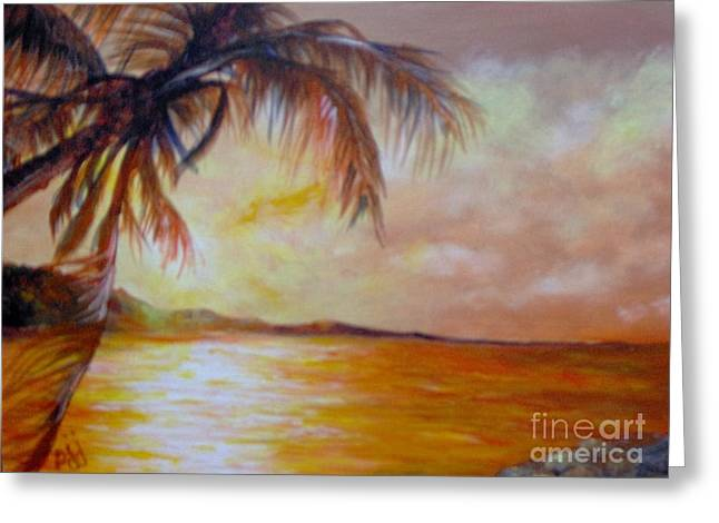 Greeting Card featuring the painting Getaway by Saundra Johnson