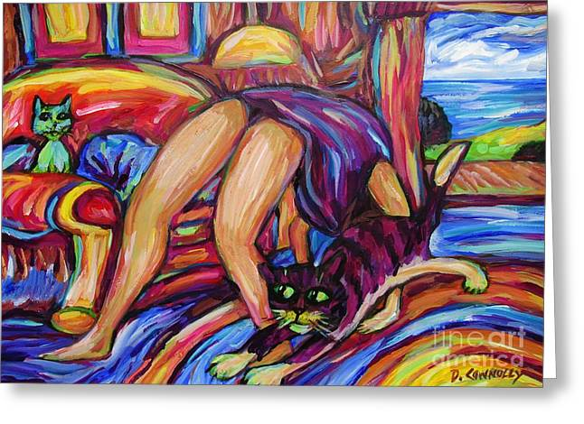 Greeting Card featuring the painting Gettin Crabby With Tabby by Dianne  Connolly