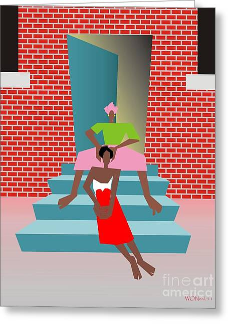 Gettin Her Hair Did Greeting Card by Walter Oliver Neal