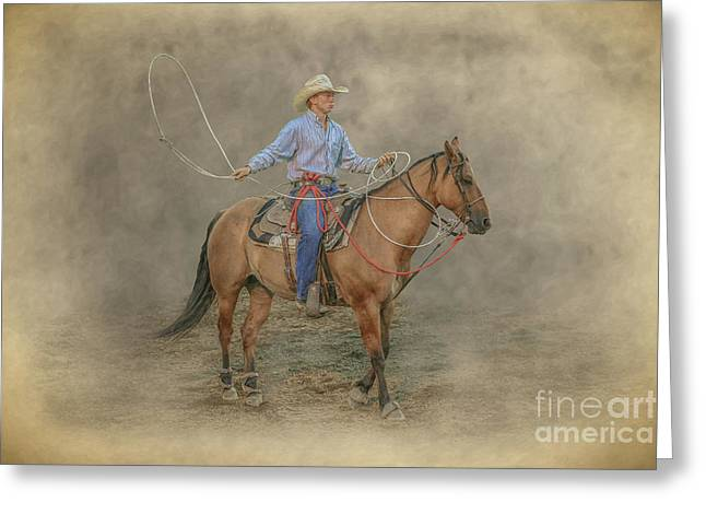 Getting Ready Rodeo Calf Roping Greeting Card