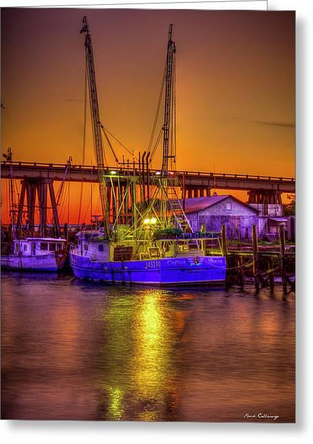 Getting Ready Tybee Island Shrimp Boat Catina Renea Savannah Ga Greeting Card by Reid Callaway