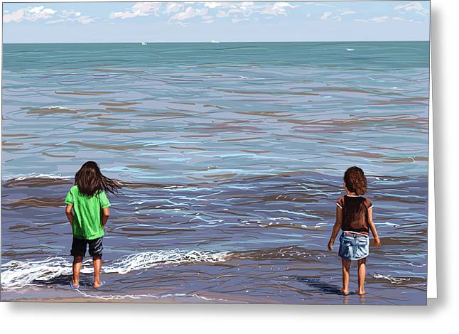 Greeting Card featuring the painting Getting Their Feet Wet by Shawna Rowe