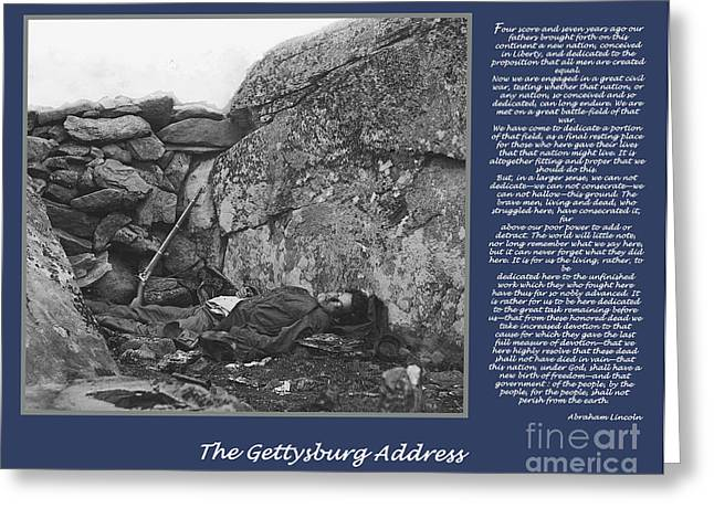 Gettysburg Address Civil War Devils Den Greeting Card by Randy Steele