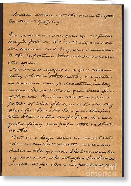 Gettysburg Address Greeting Card by Granger