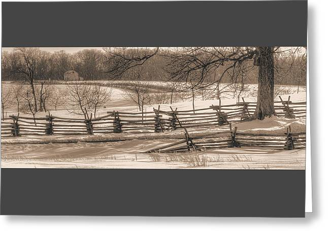 Gettysburg At Rest - We'll Be Home Before Dark - Phillip Synder Farm, Winter Greeting Card by Michael Mazaika