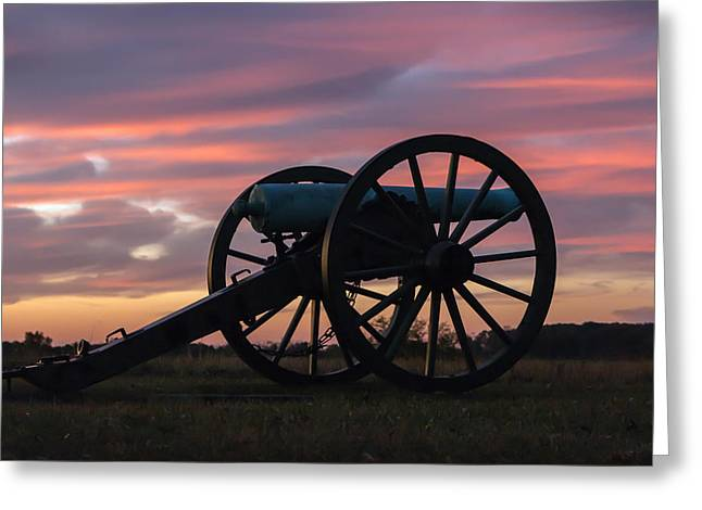 Gettysburg - Cannon On Cemetery Ridge At First Light Greeting Card